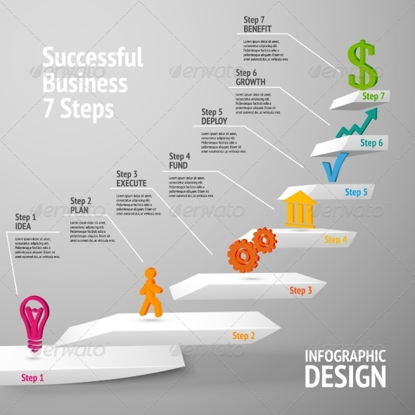 GraphicRiver Successful Business Staircase Infographic 7362904