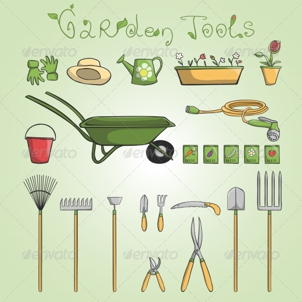 GraphicRiver Garden Tools Set 7363008