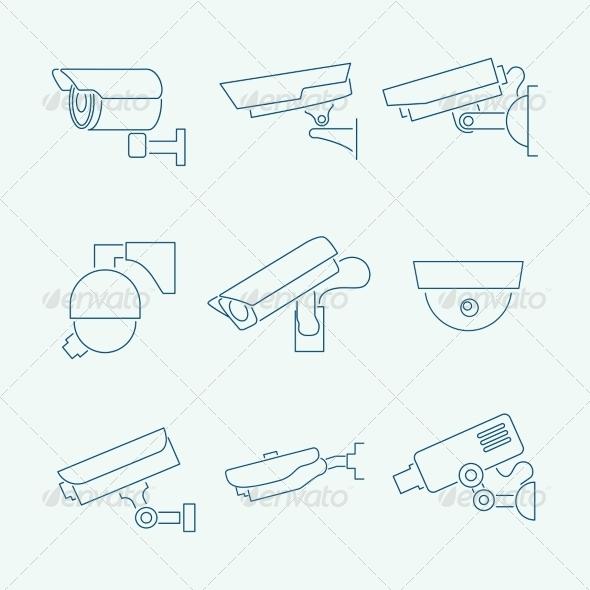 GraphicRiver Security Cameras Icons Set 7363065