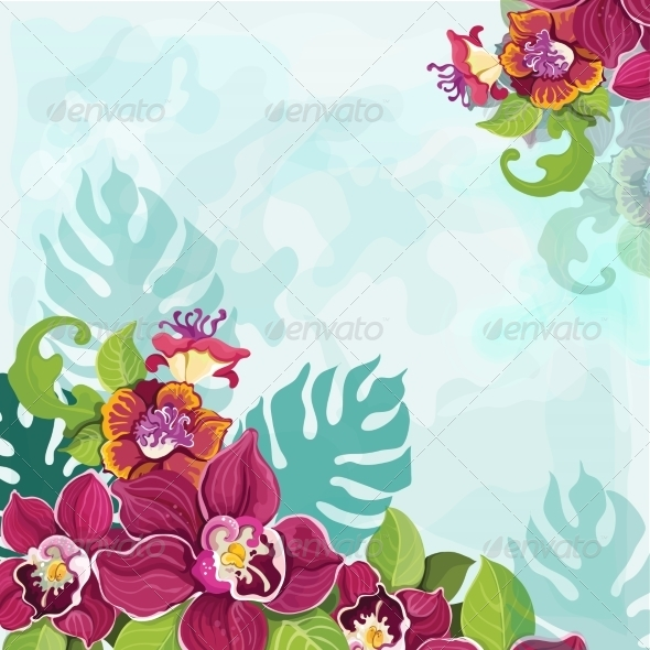 GraphicRiver Tropical Flower Background 7363123