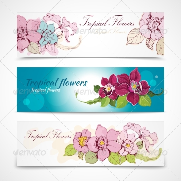 GraphicRiver Tropical Flower Banners 7363125