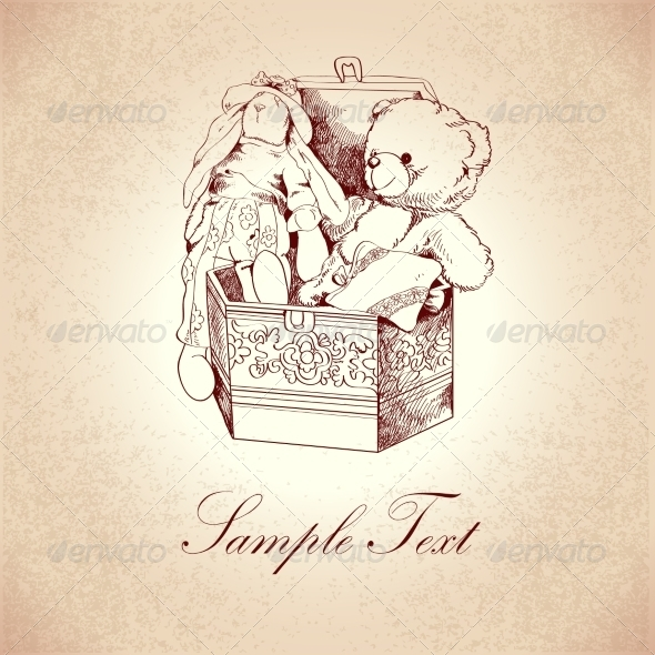 GraphicRiver Vintage Box with Toys 7363132