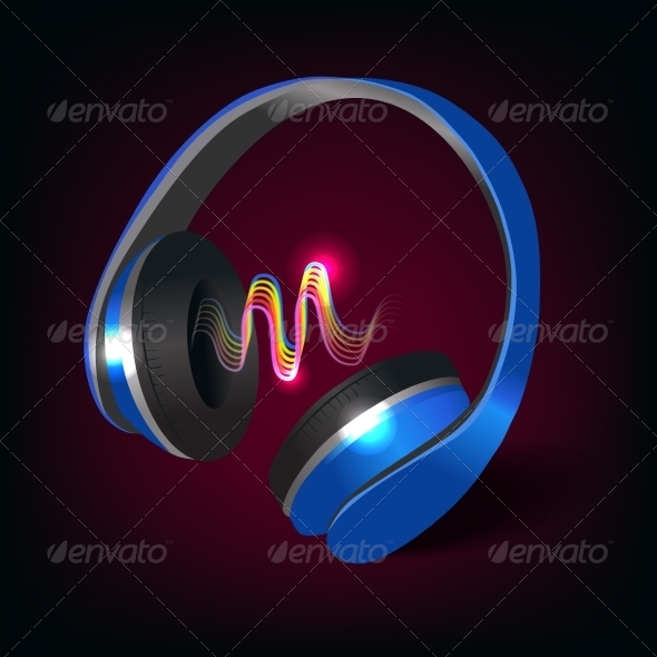 GraphicRiver Headphones Dark Background 7363139