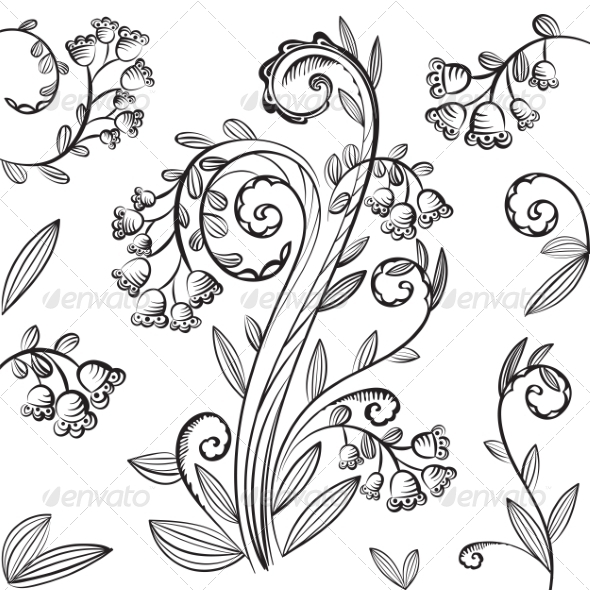 GraphicRiver Decorative Floral Pattern with Bluebells 7363316