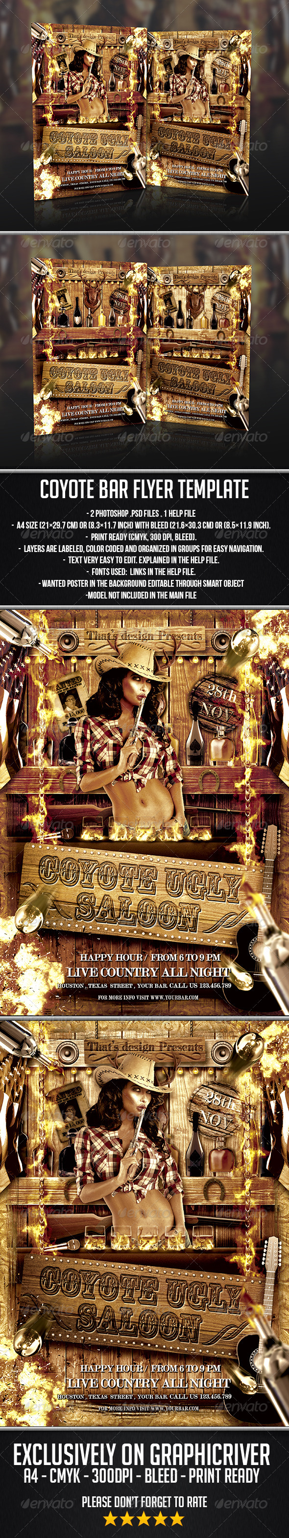 GraphicRiver Coyote Bar Flyer Template 7364462
