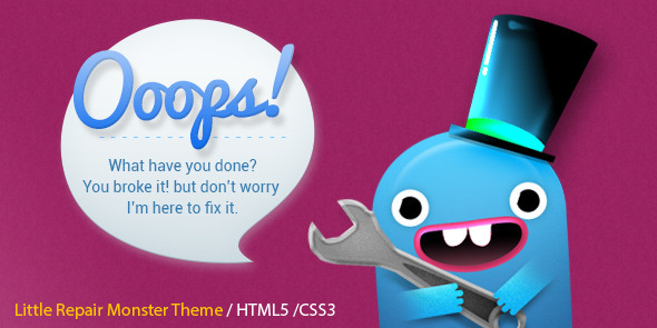 ThemeForest Little Repair Monster Responsive 404 Template 7364511