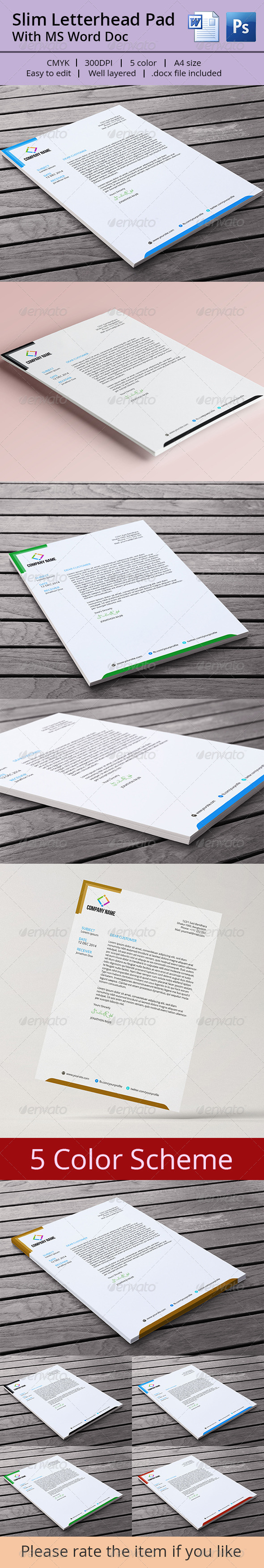 GraphicRiver Slim Letterhead Pad With MS Word Doc 7365403