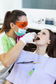 Woman dentist checking her patient's teeth - PhotoDune Item for Sale