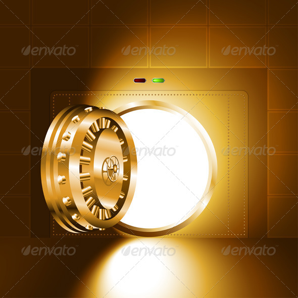 GraphicRiver Gold Safe Door Open with Light 7365684