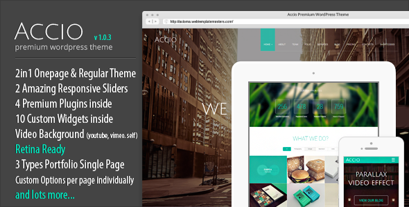 ThemeForest Accio One Page Parallax Responsive WordPress Theme 7059765