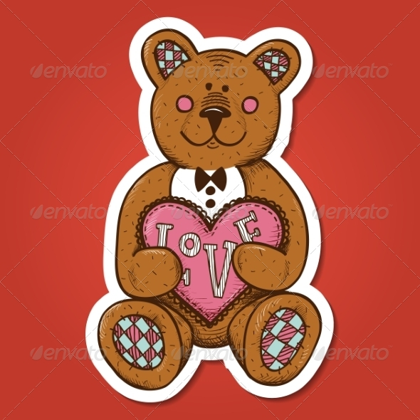 GraphicRiver Teddy Bear with Heart Present 7365905