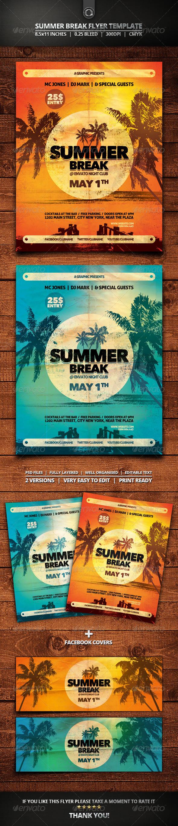 GraphicRiver Summer Break Flyer Template 7365913