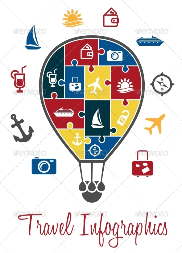 GraphicRiver Travel Infographics with a Hot Air Balloon 7365945