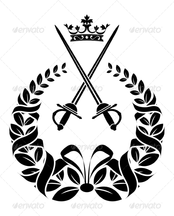 GraphicRiver Royal Laurel Wreath with Swords 7365990