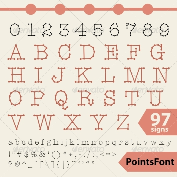 GraphicRiver Points Font 97 Vector Letters Numbers and Signs 7368806