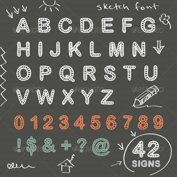 GraphicRiver Sketch Doodle Chalk Font 7368807
