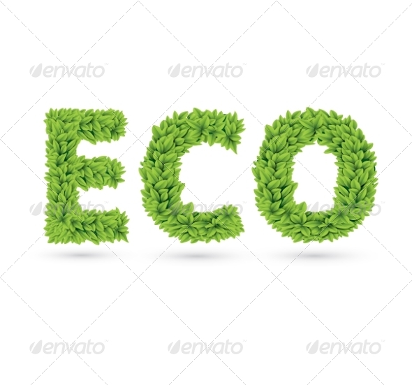 GraphicRiver Eco Text of Green Leaves 7368929