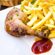 fried chicken with golden French fries - PhotoDune Item for Sale