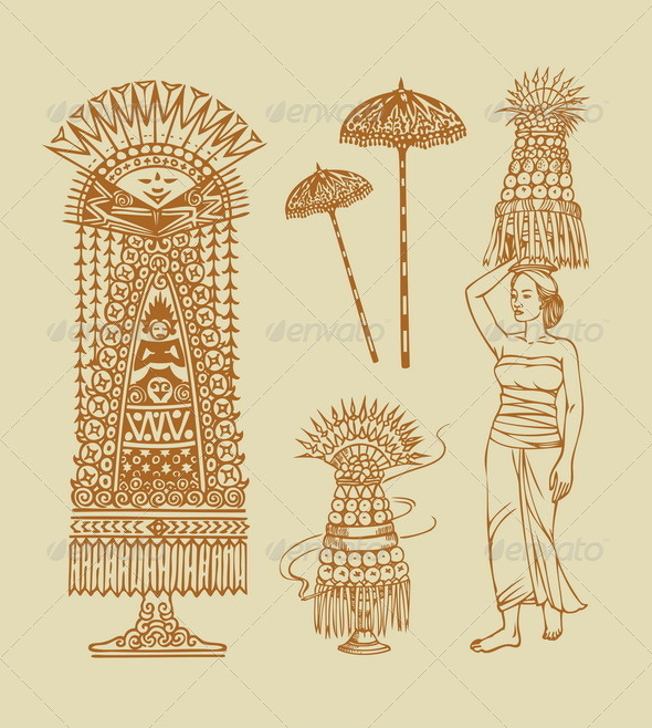 GraphicRiver Hinduism Balinese Element Sketches 7369307