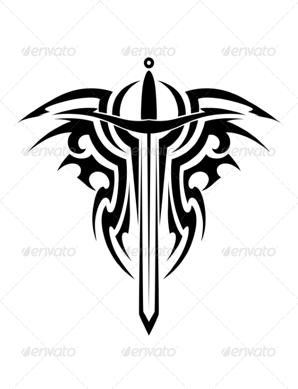 GraphicRiver Tribal Tattoo with Medieval Sword 7369456