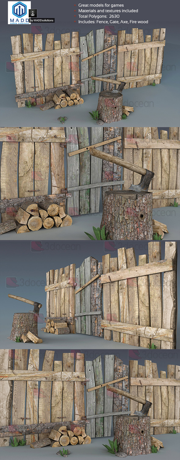 3DOcean Wood Props Pack 7369509
