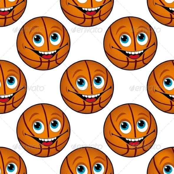 GraphicRiver Seamless Pattern of a Happy Cartoon Basketball 7369547