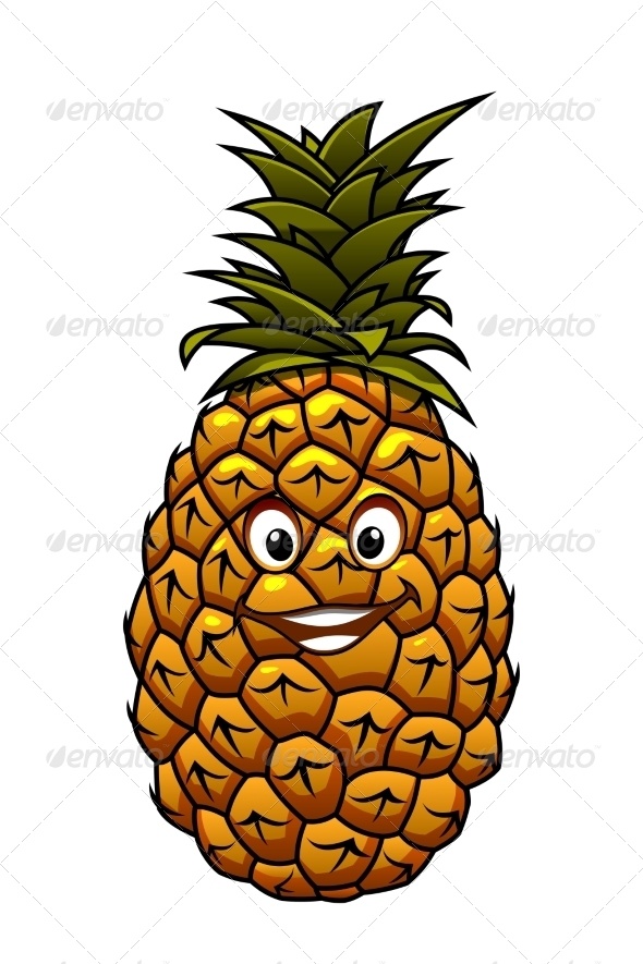 GraphicRiver Fun Cartoon Tropical Pineapple Fruit 7369621
