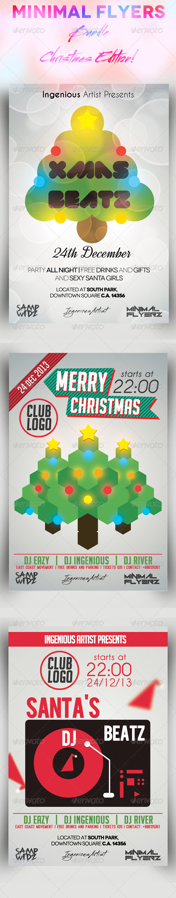 GraphicRiver Minimal Flyers Bundle Vol.2 Christmas 7369720