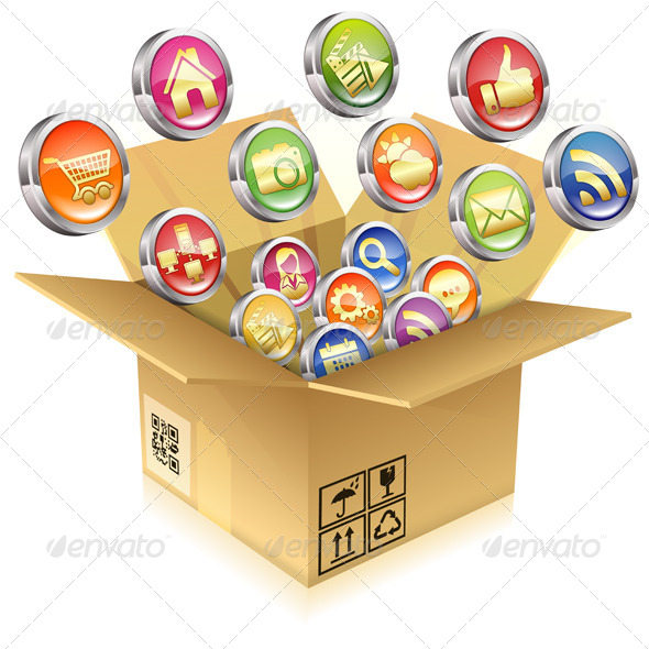 GraphicRiver Cardboard Box with Set of Icons 7369781