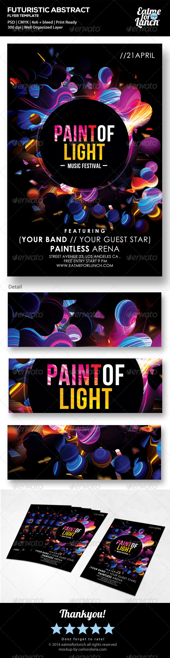 GraphicRiver Futuristic Abstract Flyer Paint of Light 7369803