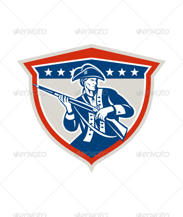 GraphicRiver American Patriot Holding Musket Rifle Shield Retro 7370706