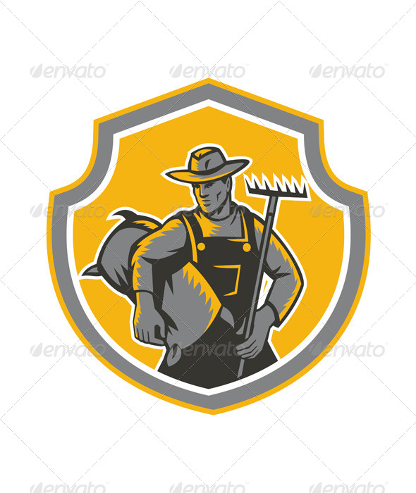 GraphicRiver Organic Farmer Carry Sack Rake Woodcut Retro 7370749