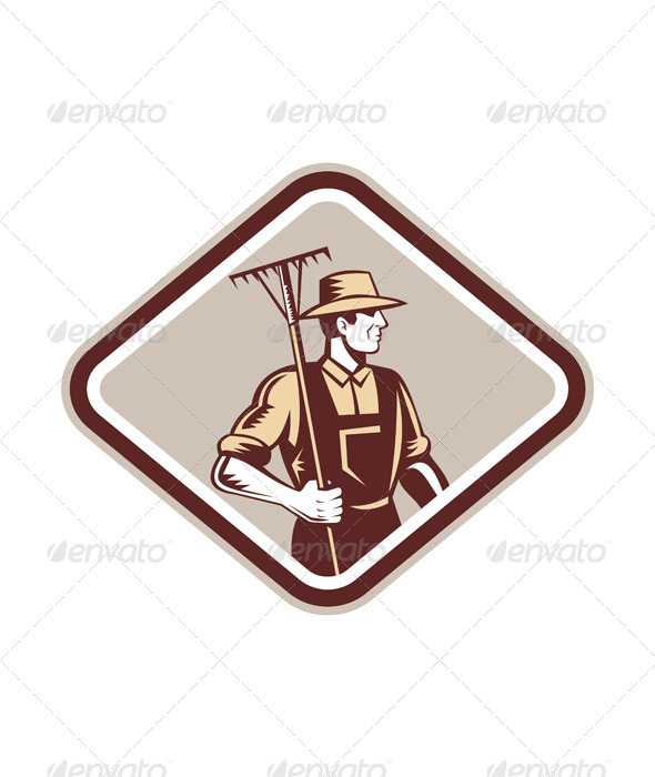 GraphicRiver Organic Farmer Holding Rake Side Woodcut 7370795