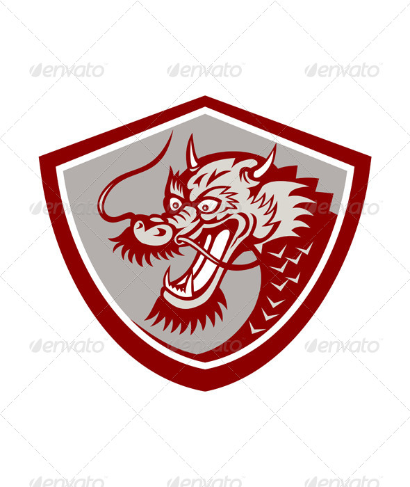 GraphicRiver Chinese Red Dragon Head Shield 7370857