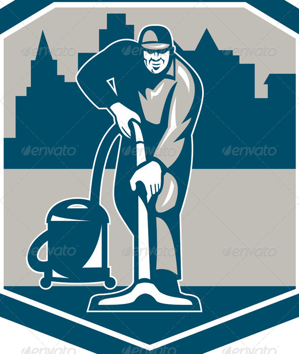 GraphicRiver Janitor Cleaner Vacuum Carpet Cleaning Shield 7370865