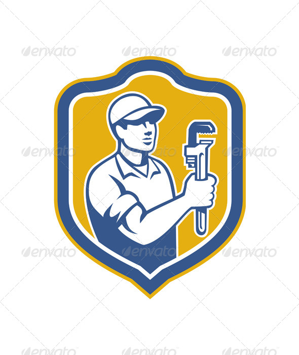 GraphicRiver Plumber Holding Wrench Side Shield Retro 7370893
