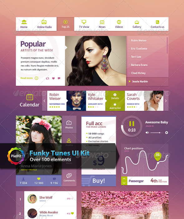 GraphicRiver Funky Tunes UI Kit 7313168