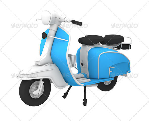 GraphicRiver 3D Retro Scooter Blue 7371111