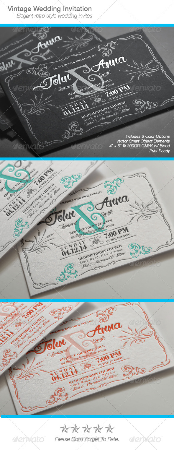 GraphicRiver Vintage Wedding Invitation 7340421