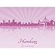 Hamburg Skyline in Purple Radiant Orchid - GraphicRiver Item for Sale