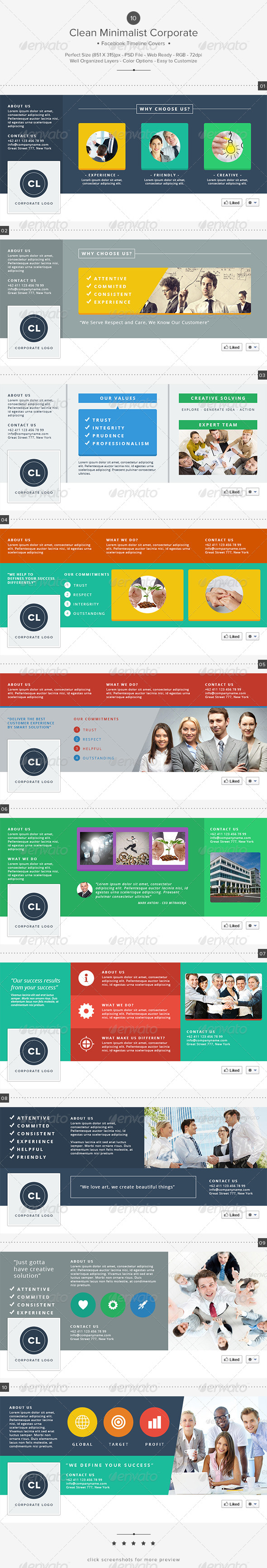 GraphicRiver 10 Clean Minimalist Corporate Facebook Covers 7371259