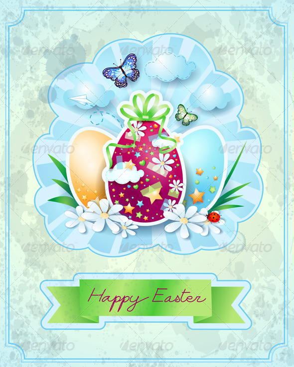 GraphicRiver Easter Card in Vintage Style 7371763