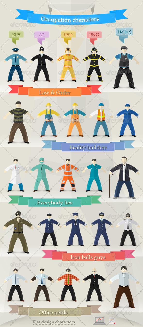 GraphicRiver Flat Design Profession Characters in Uniform 7321820
