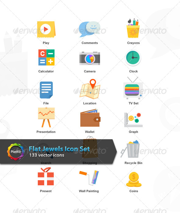 GraphicRiver Flat Jewels Icon Set 7372183