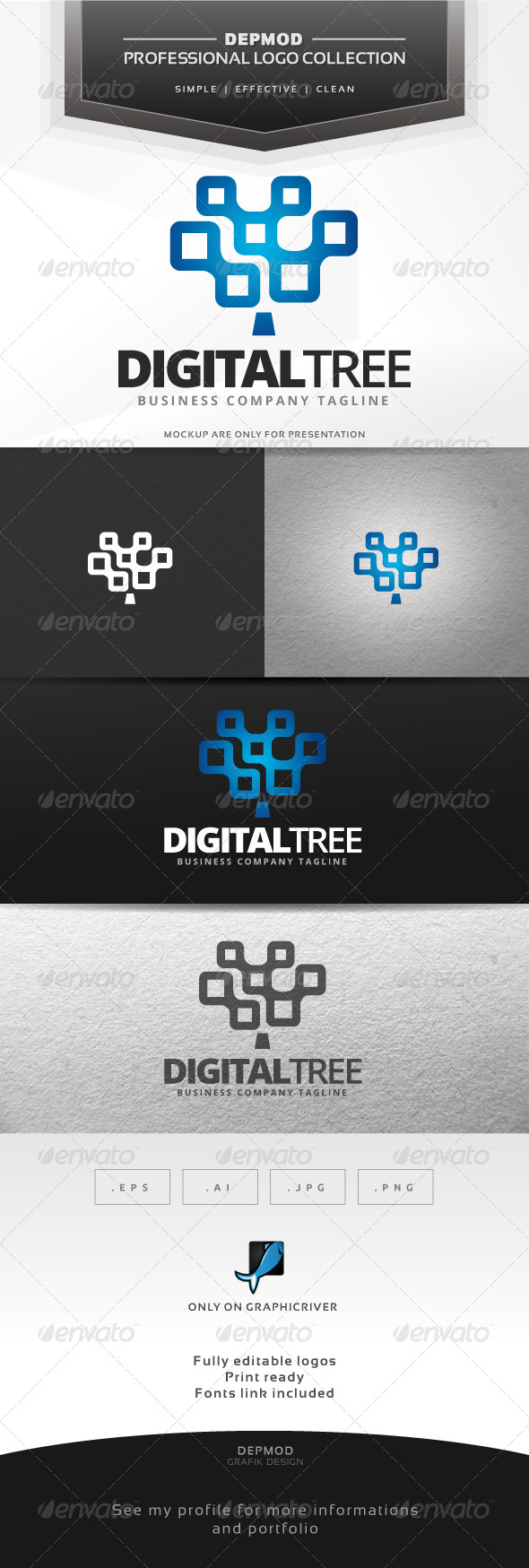 GraphicRiver Digital Tree Logo 7372233