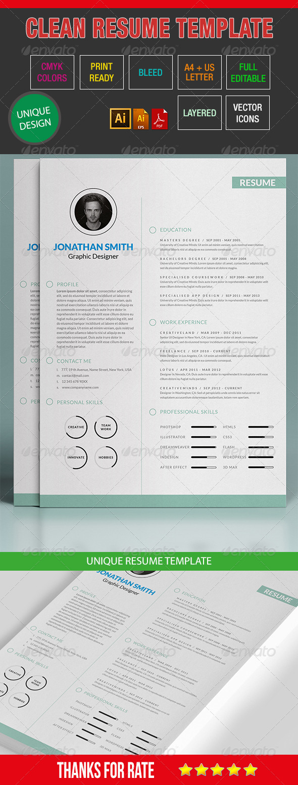 GraphicRiver Simple Resume Template 07 7360756
