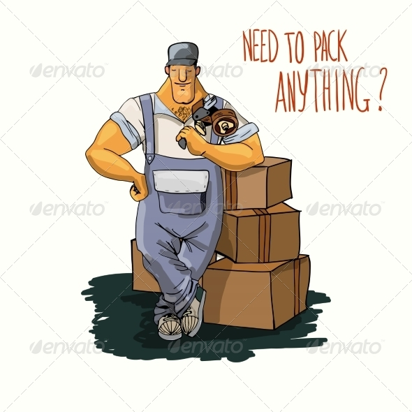 GraphicRiver Delivery Man with Tape Dispenser 7372890