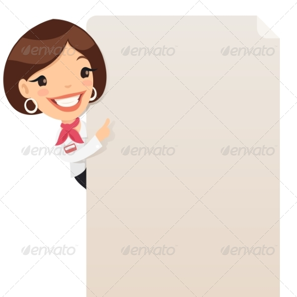 GraphicRiver Female Manager Looking at Blank Poster 7374393