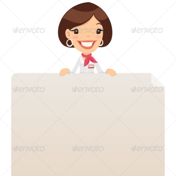 GraphicRiver Female Manager Looking at Blank Poster on Top 7374395