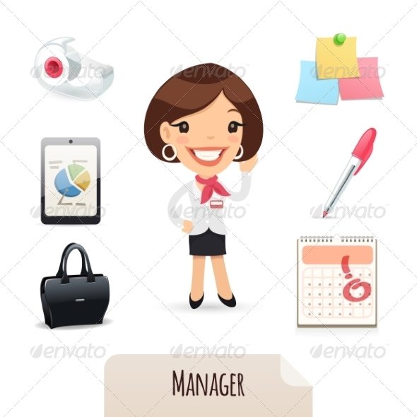 GraphicRiver Female Manager Icons Set 7374396